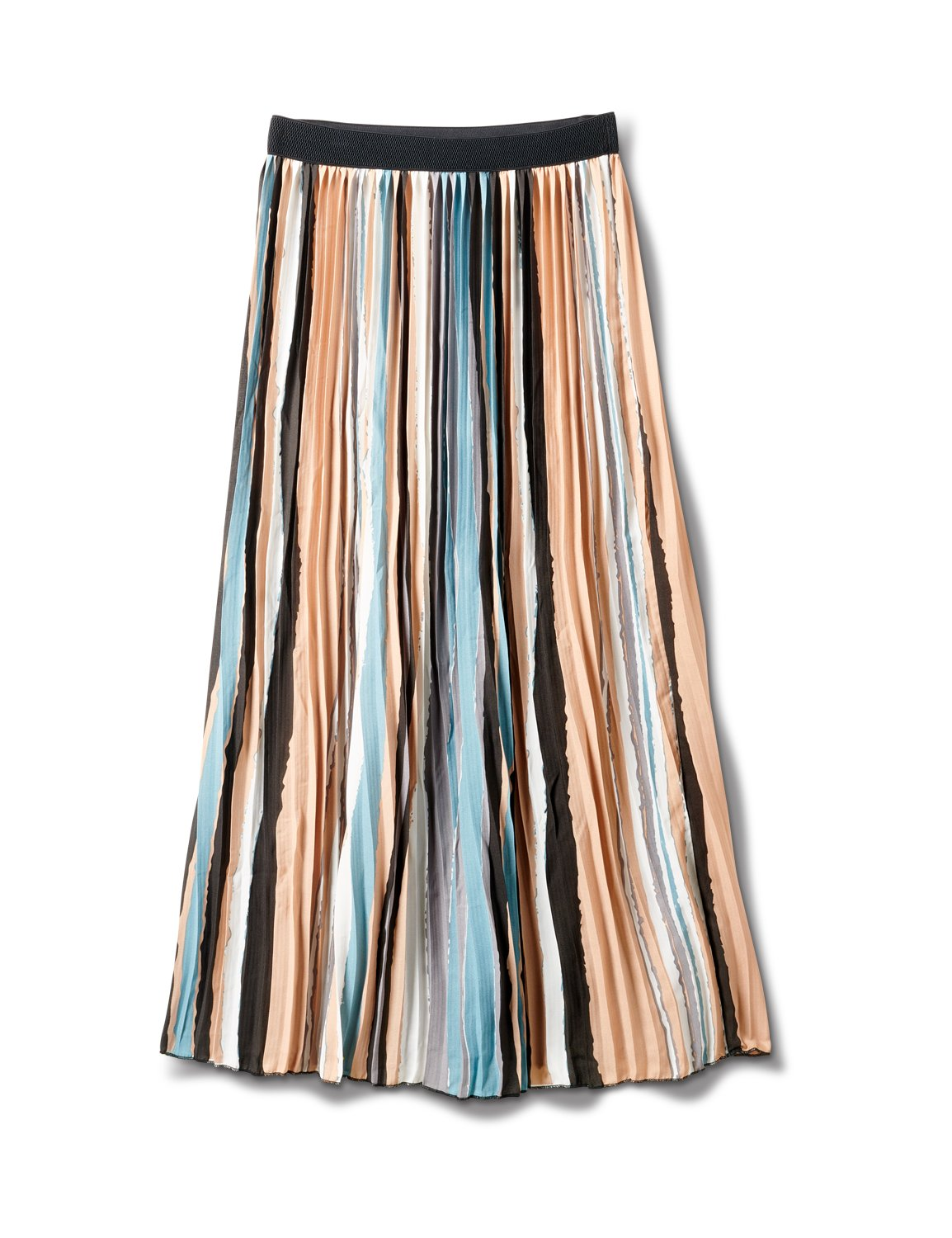Stripe Pleated Skirt With Contrast Elastic Waistband -Multi - Front