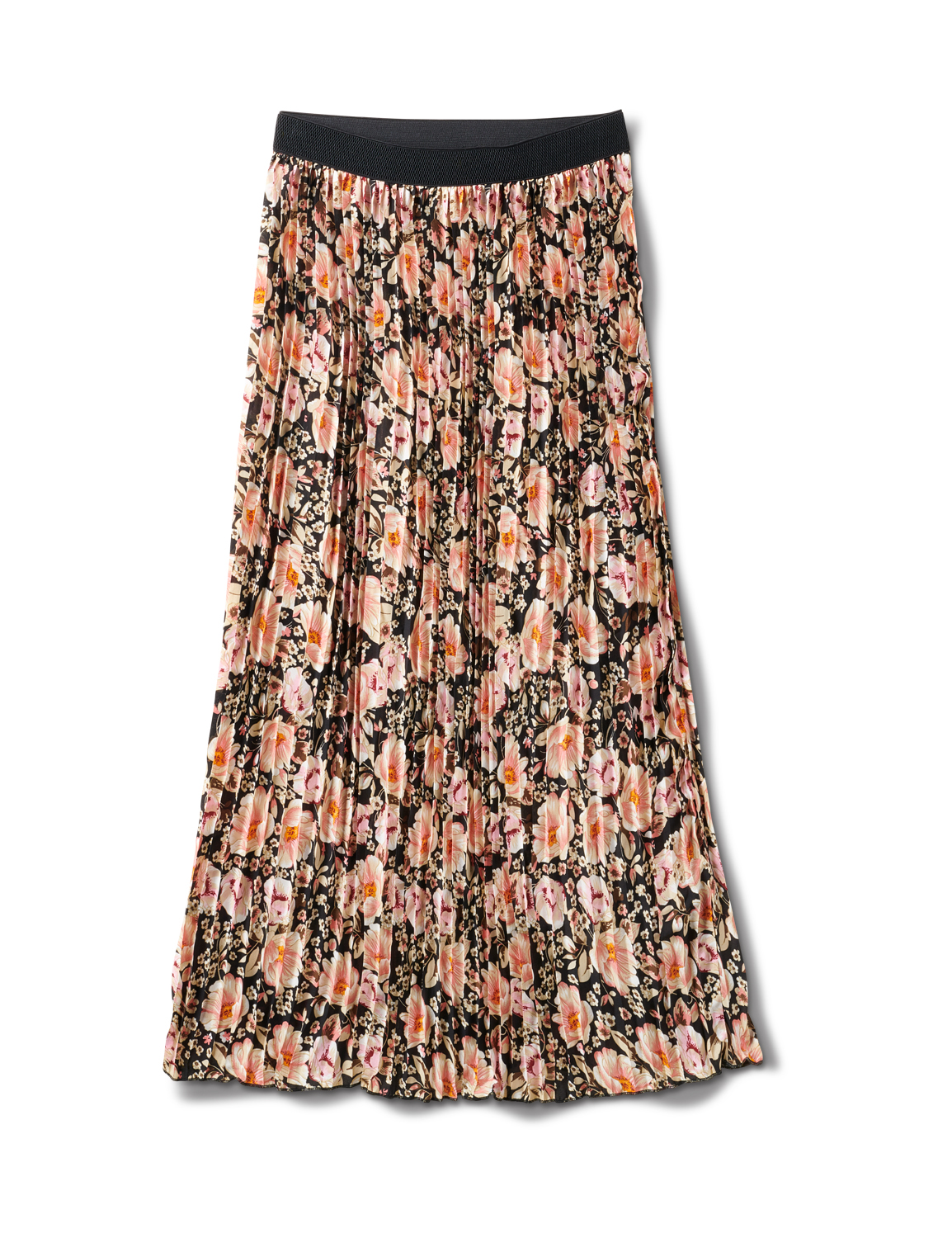 Floral Print Pleated Skirt With Contrast Elastic Waistband -Floral - Front