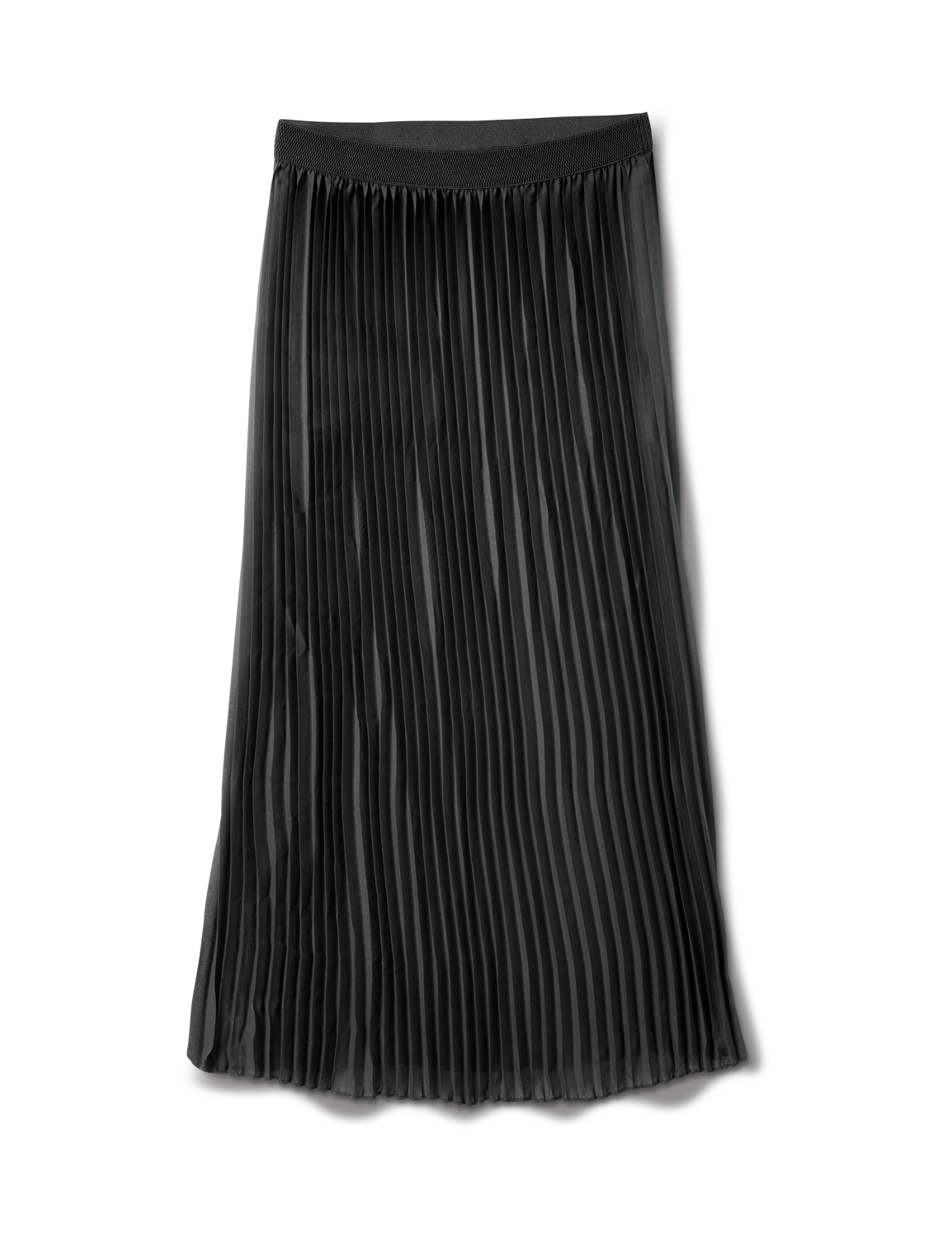 Solid Pleated Skirt With Contrast Elastic Waistband -Black - Front