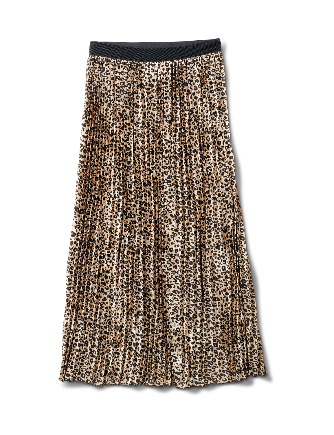 Printed Pleated Skirt With Contrast Elastic Waistband -Skin - Front