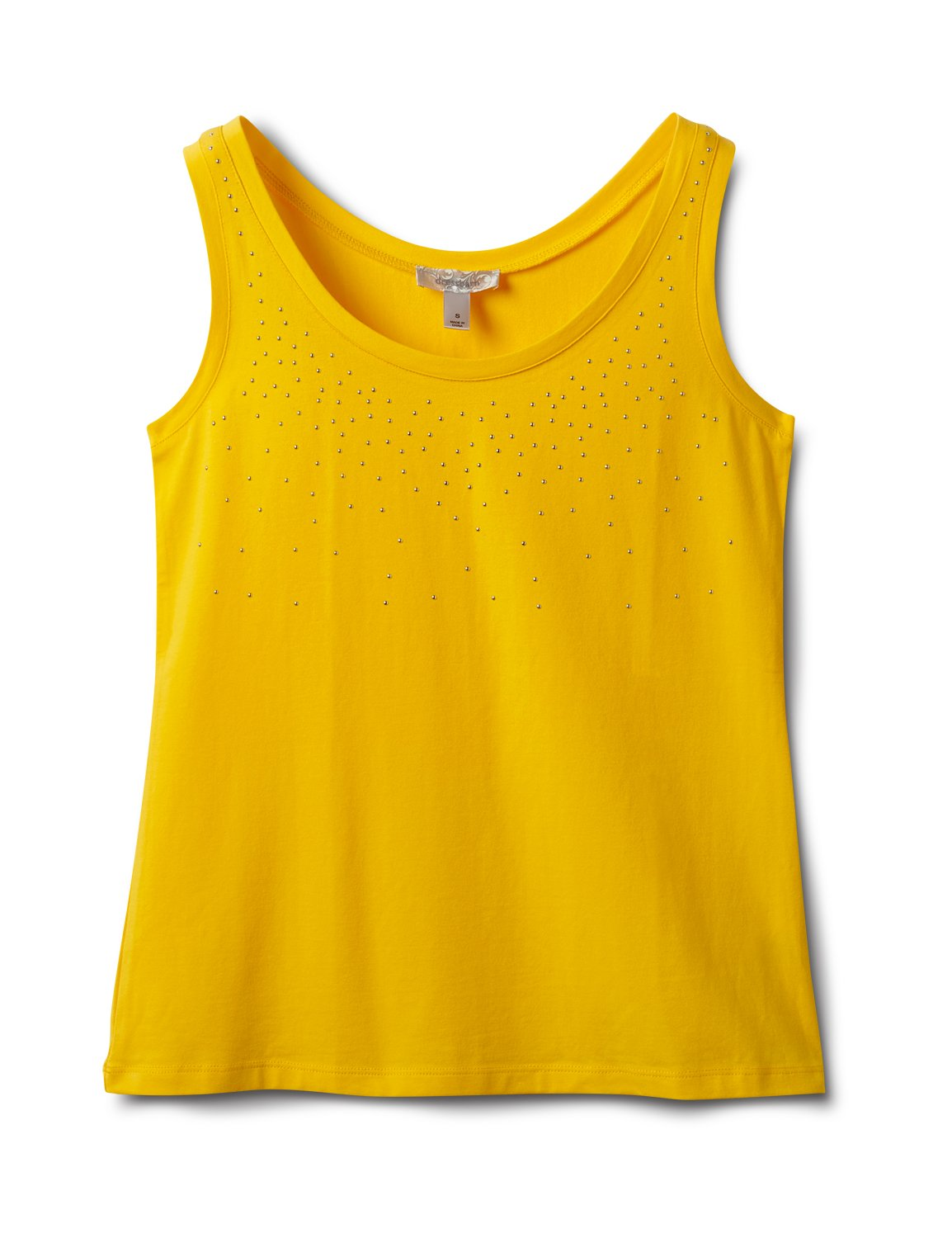 Studded Knit Tank -Gold - Front