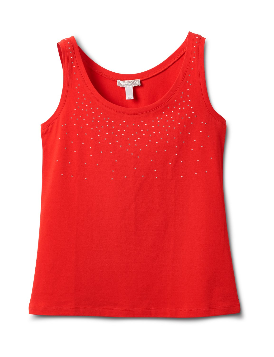 Studded Knit Tank -Red - Front