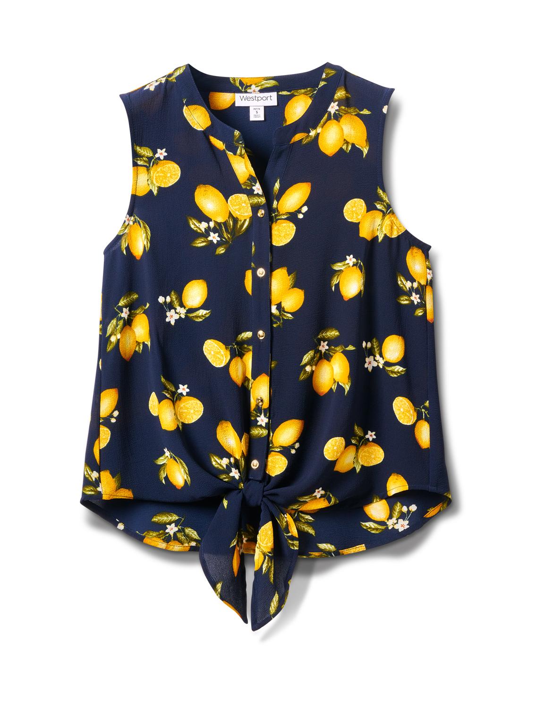 Sleevless Lemon Tie Front Blouse-Petite -Navy - Front