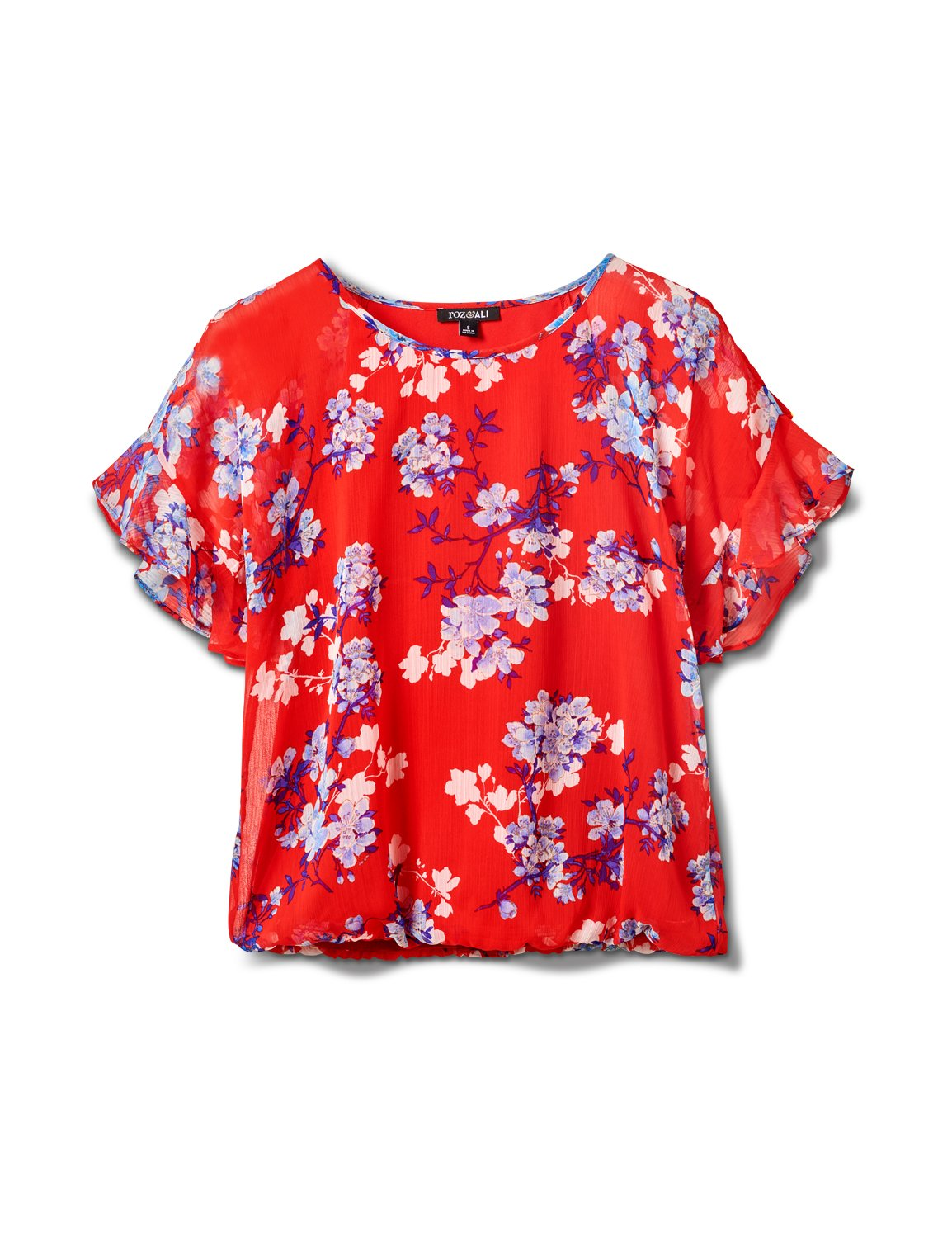 Floral Cold Shoulder Bubble Hem Top - Misses -Red - Front