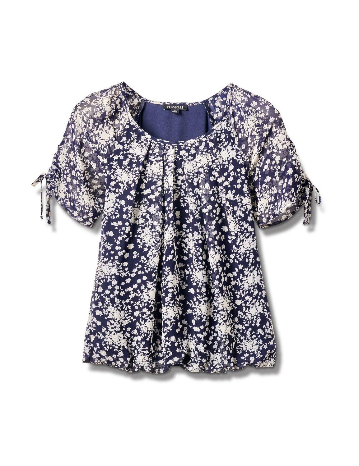 Small Floral Bubble Hem Top - Misses -Navy - Front