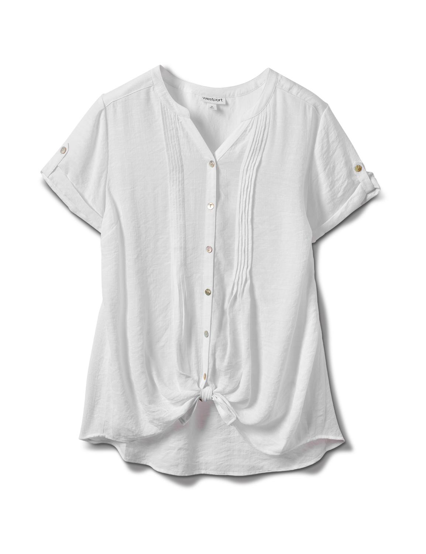 Pintuck Texture Button Front Shirt -White - Front