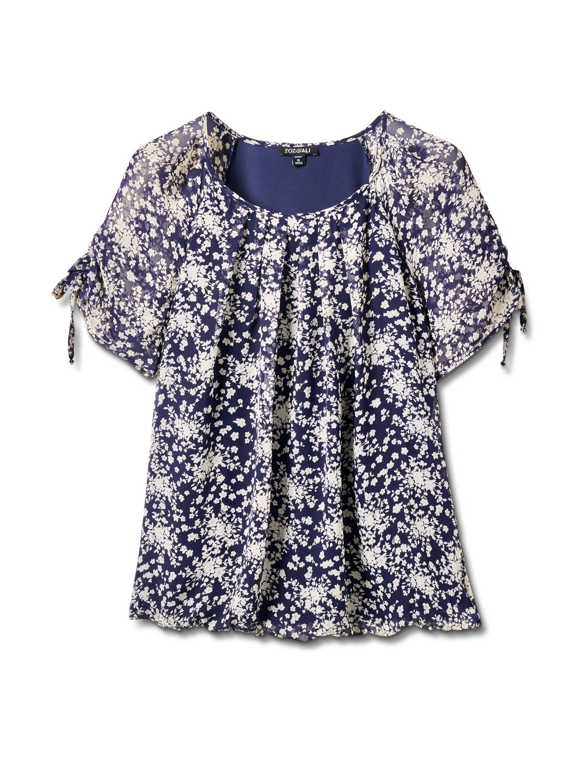 Small Floral Bubble Hem Top -Navy - Front