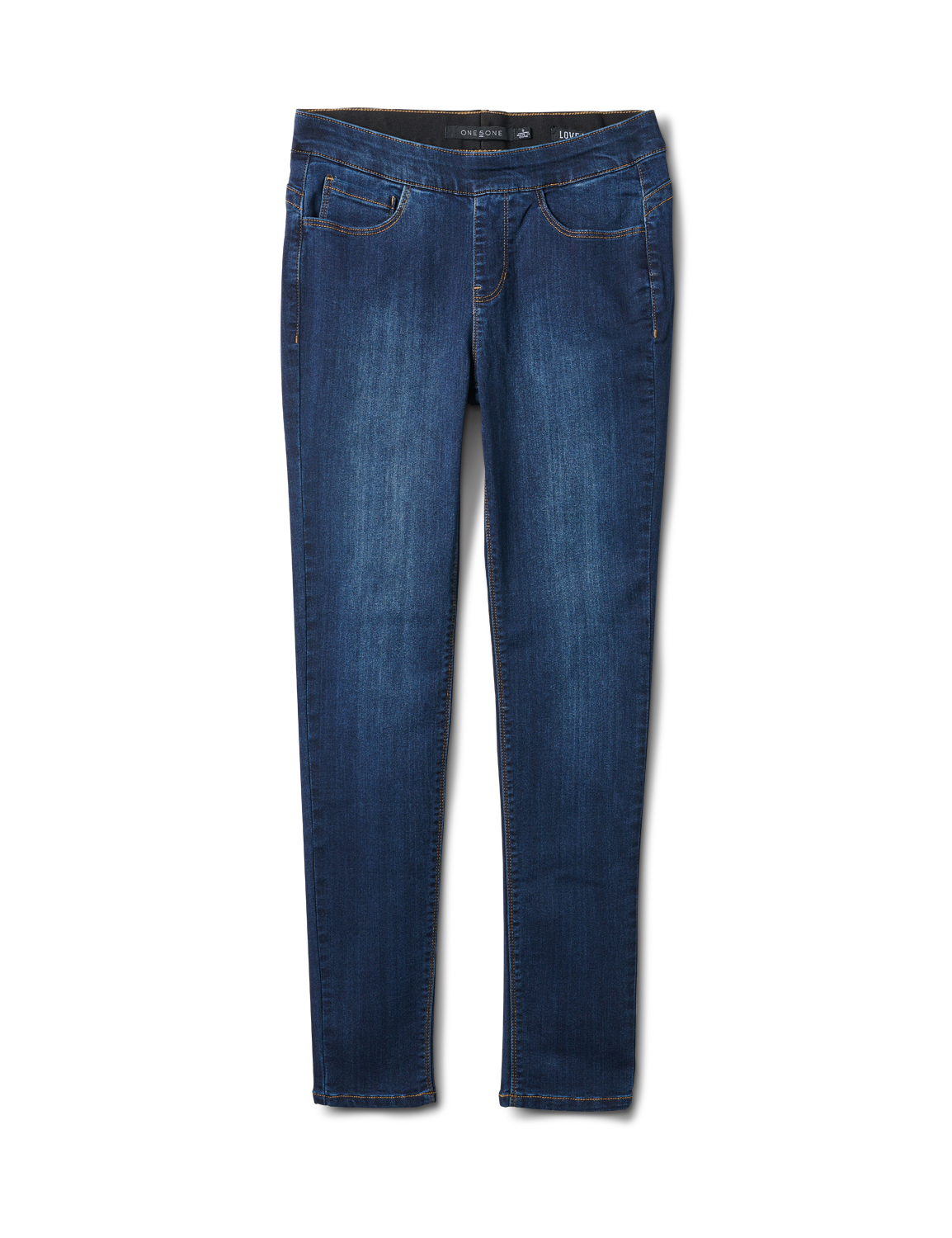 Mid Rise Skinny Pull On Jean Pants - Front And Back Pockets -Dark Stone Wash - Front