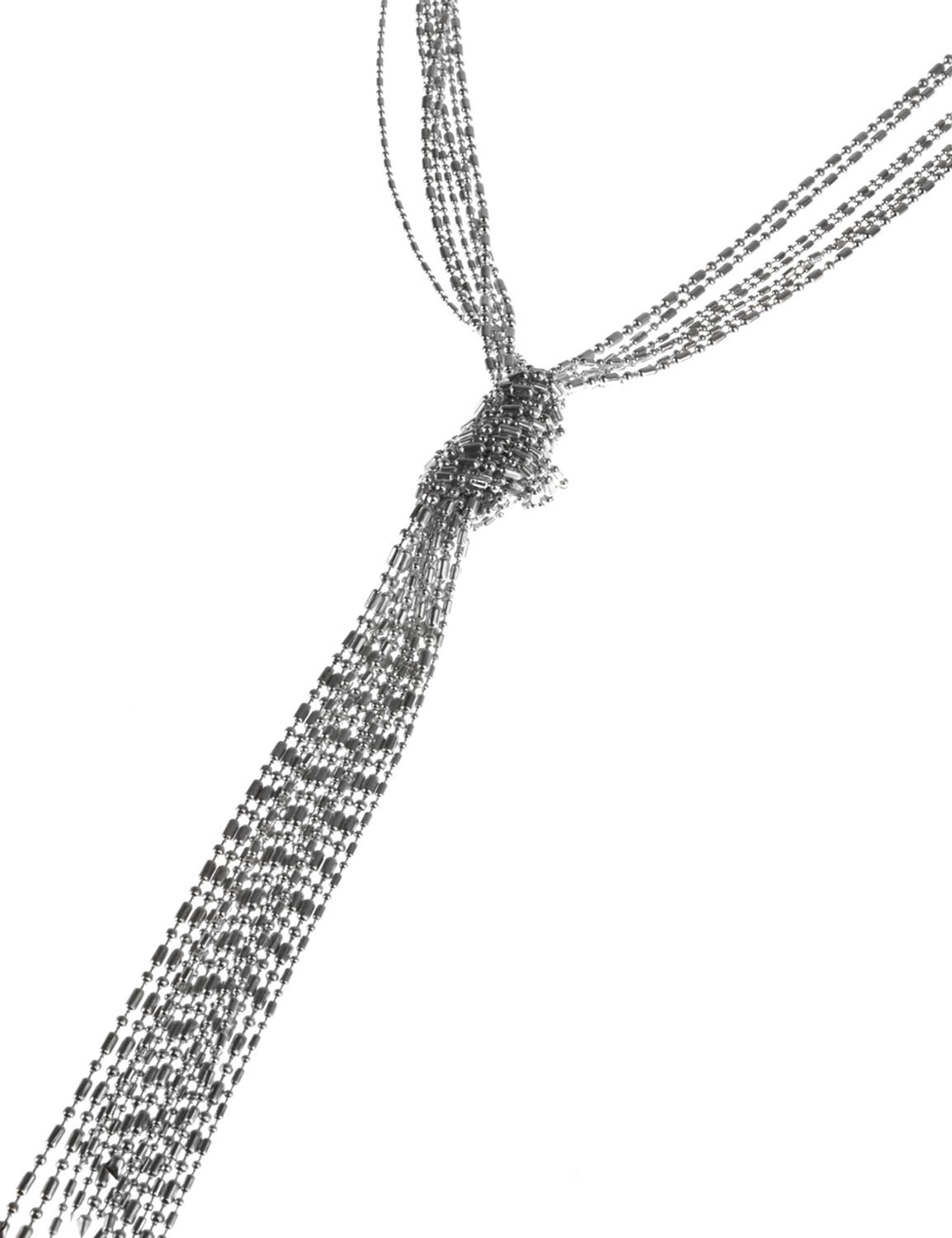 Shot Bead Knotted Tassel Necklace -Silver Plating - Front