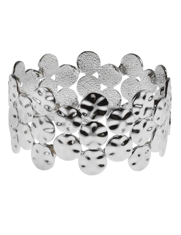 Hammered Casting Stretch Bracelet -Silver Plating - Front