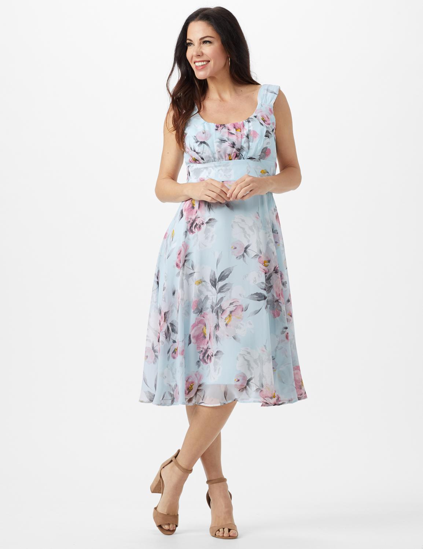 Aqua Floral Emma Style Sleeveless Chiffon Dress -Aqua - Front