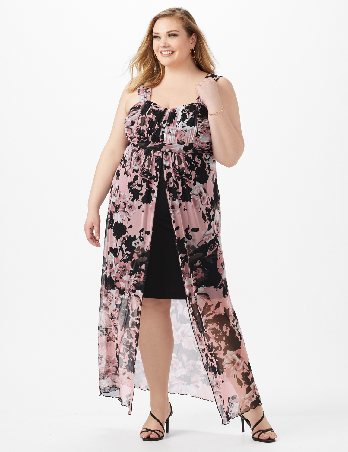 Rushed Empire Detail Floral Maxi Dress -Dusty Rose - Front