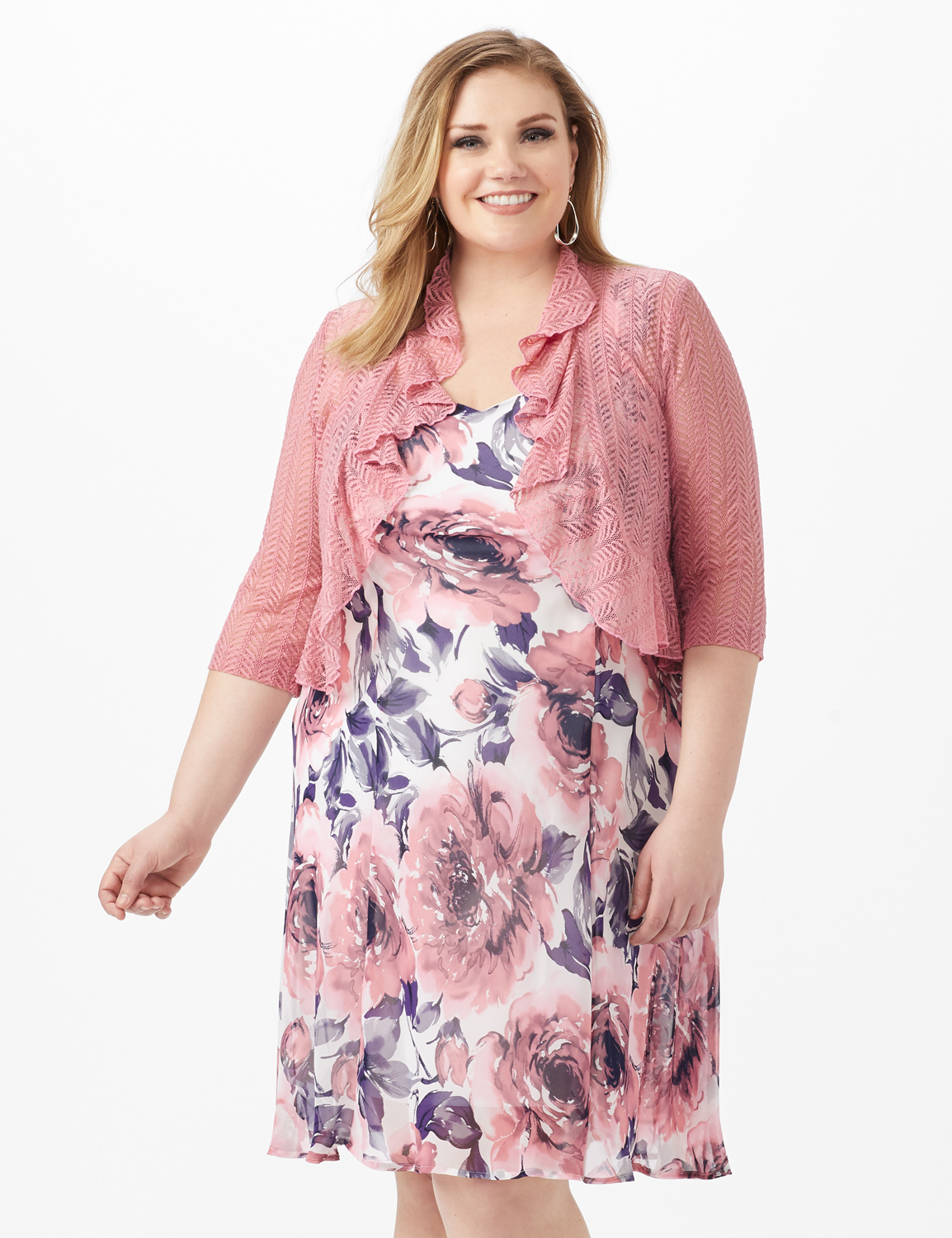 Floral Chiffon  Dress with Lace Shrug -Ivory/Mauve - Front