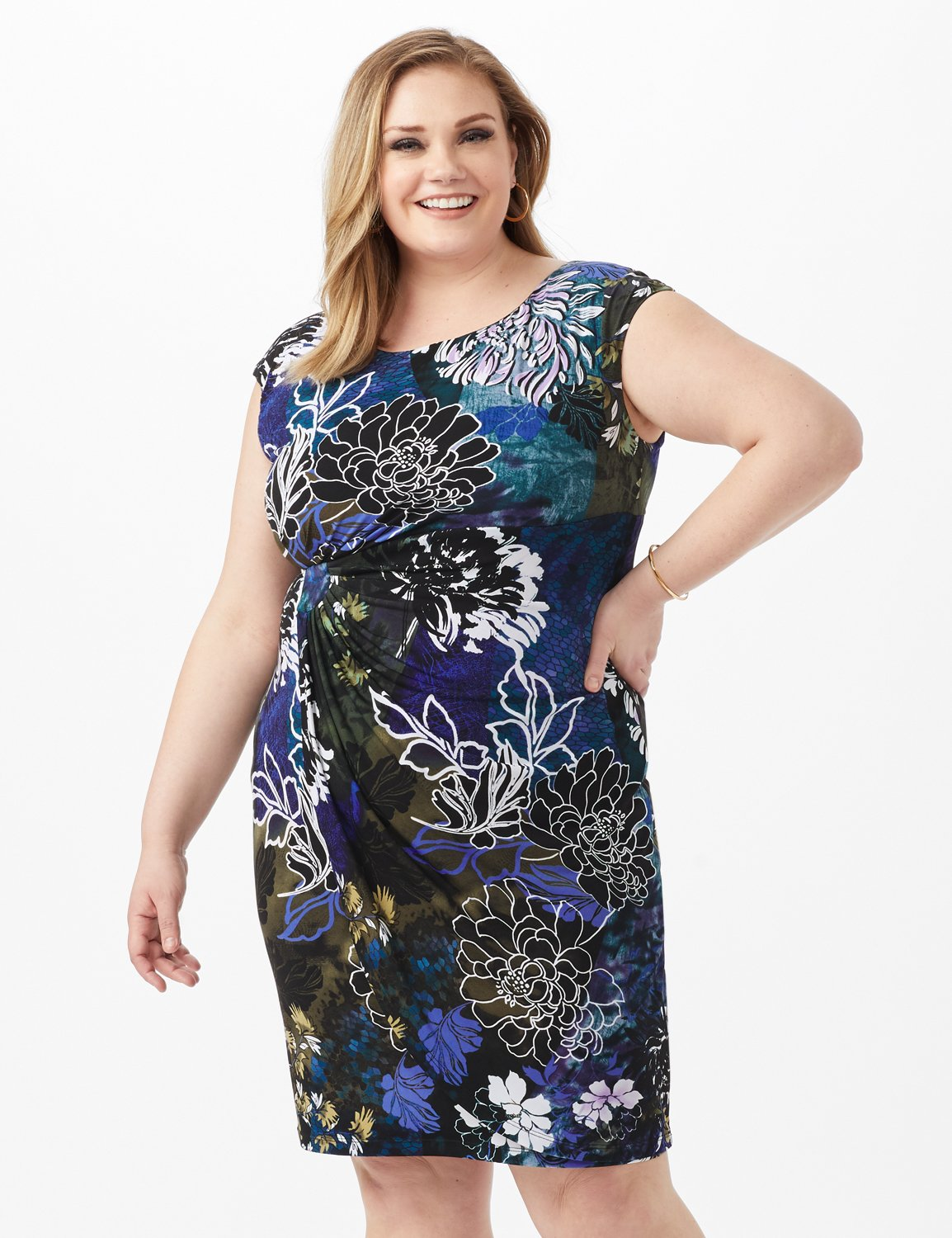 Faux Wrap Floral Print Side Rush Dress -Dark Periwinkle - Front