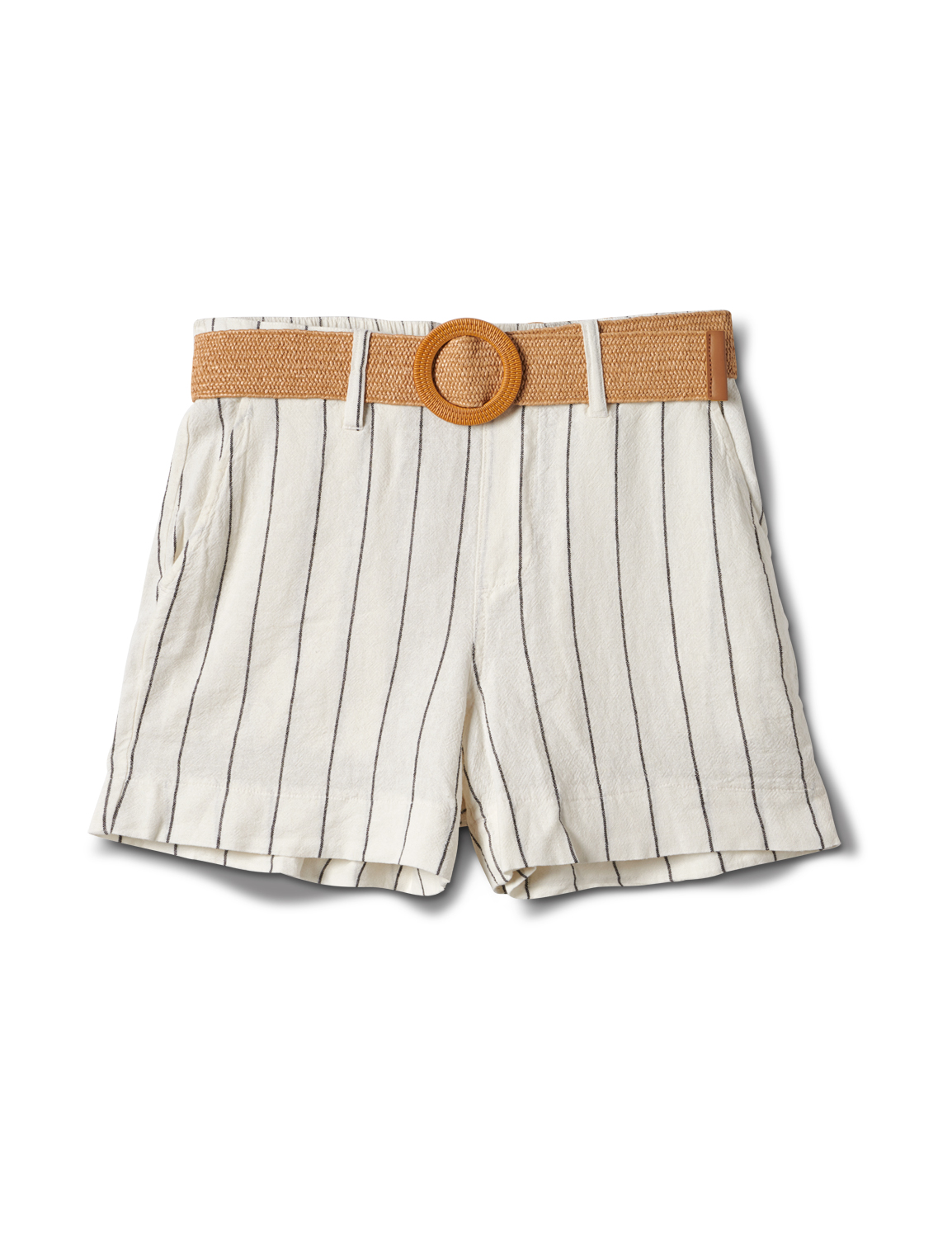 High Rise A Line Shorts With Belt -Natural - Front