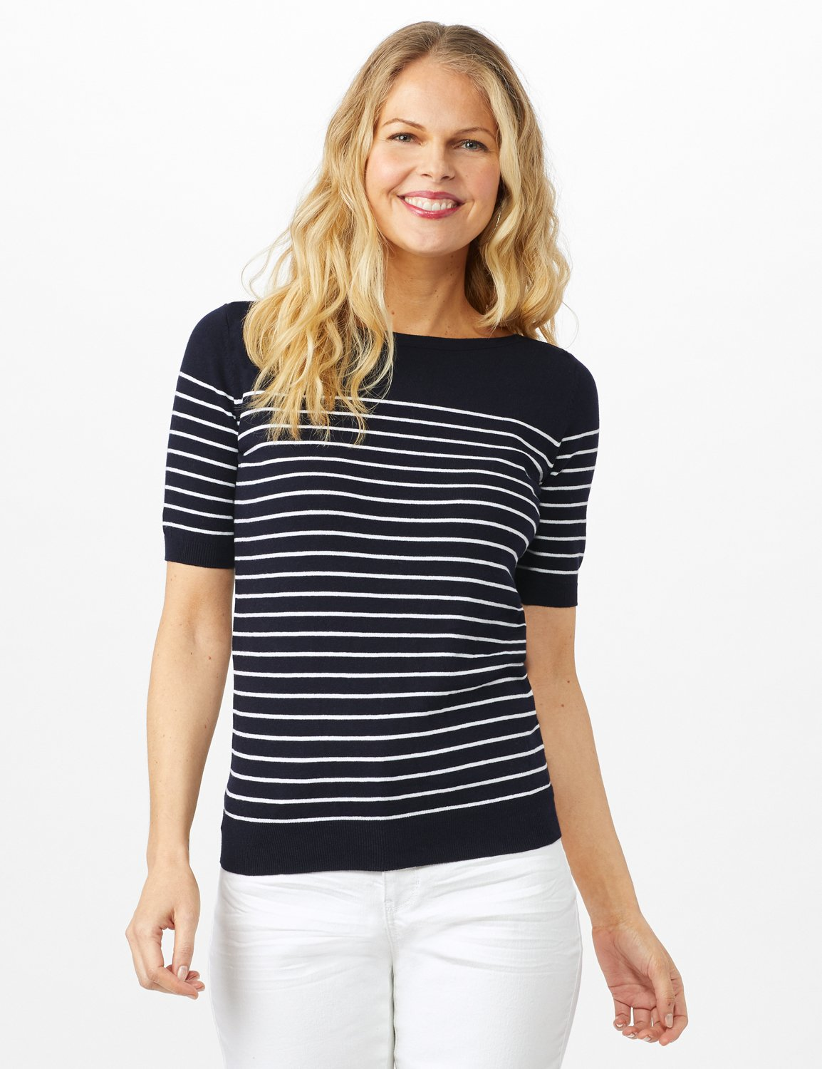 Stripe Sweater -Nightlife/ White - Front