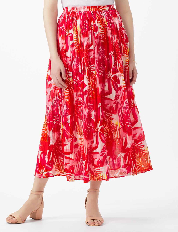 Elastic Waist Crinkle Pull On Skirt -Hot Pink - Front
