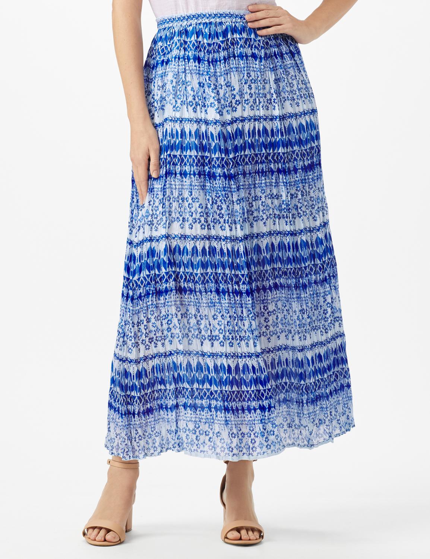 Elastic Waist Crinkle Pull On Skirt -Royal Blue - Front