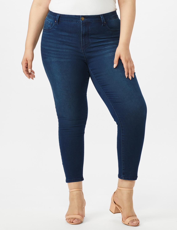 5 Pocket Skinny Ankle Length Jeans -Medium Wash - Front