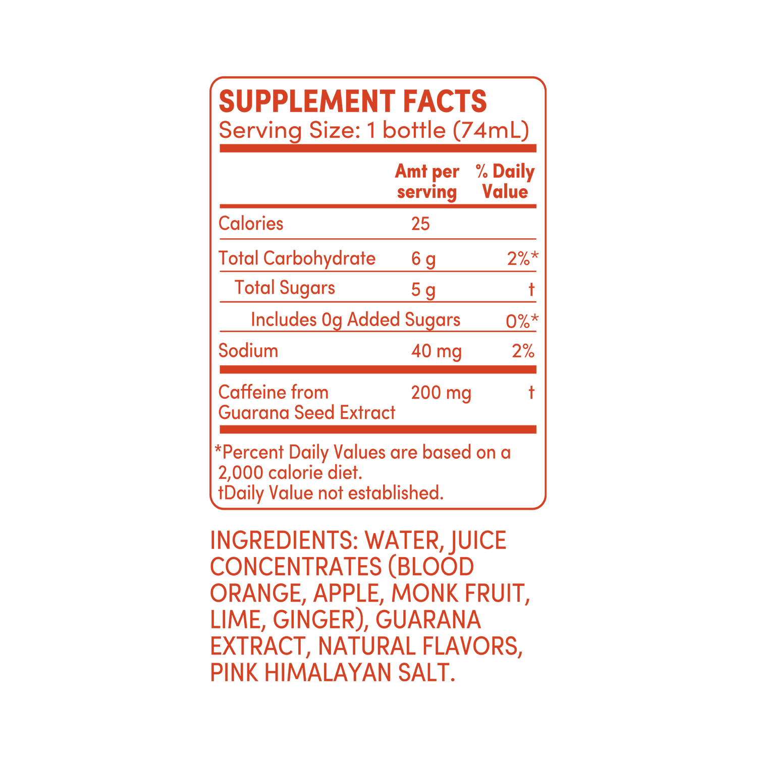 GO BIG blood orange ginger supplement facts
