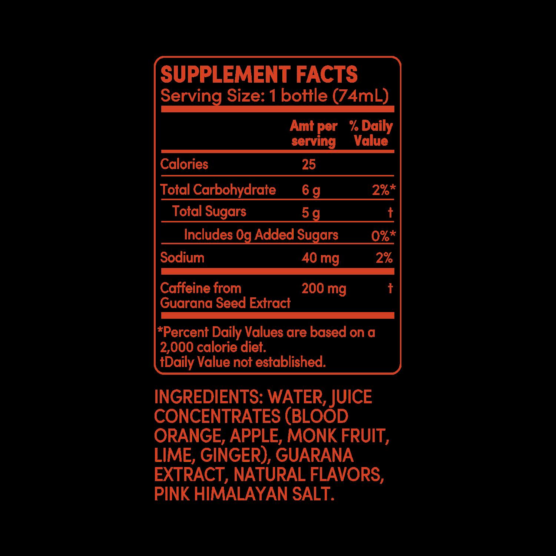 GO BIG blood orange ginger supplement facts