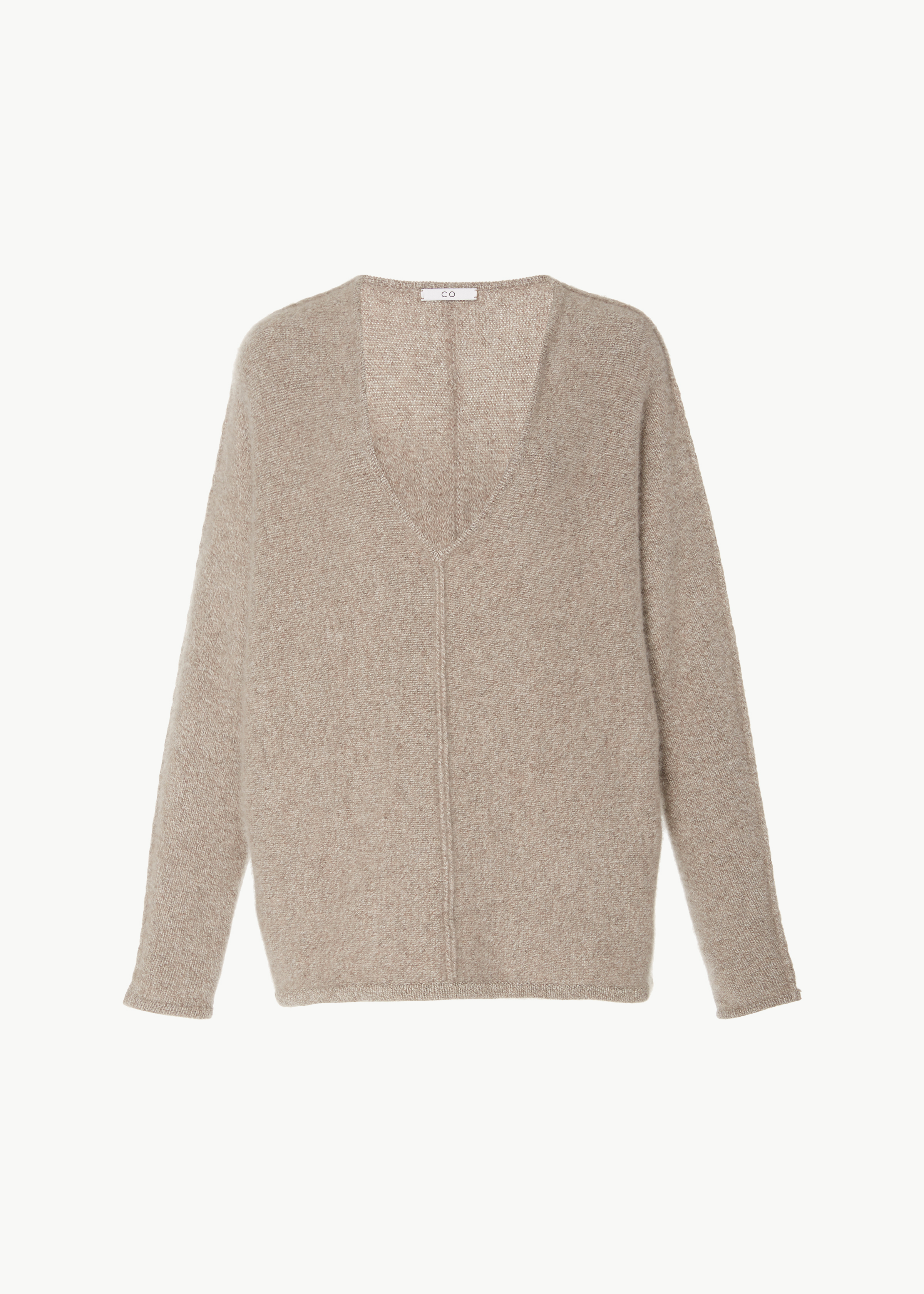 V-Neck Cashmere Sweater - Charcoal in Light Taupe by Co Collections