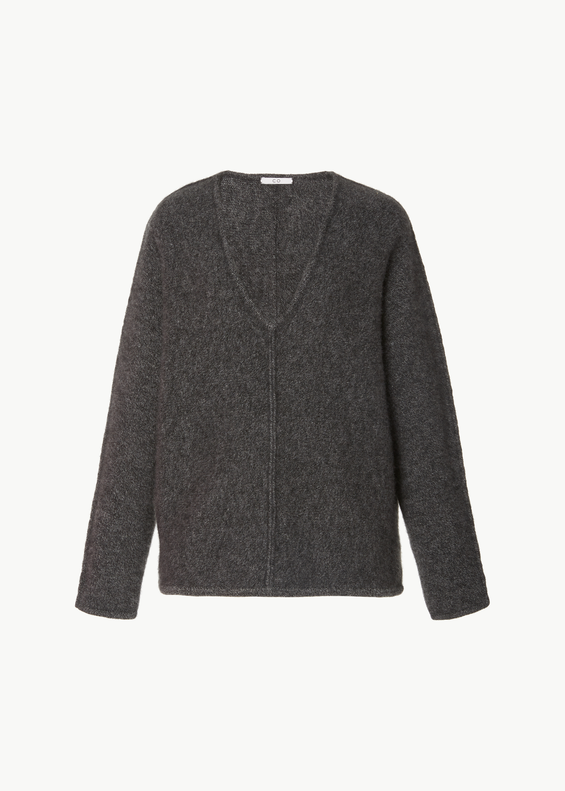 V-Neck Cashmere Sweater - Light Taupe in Charcoal by Co Collections