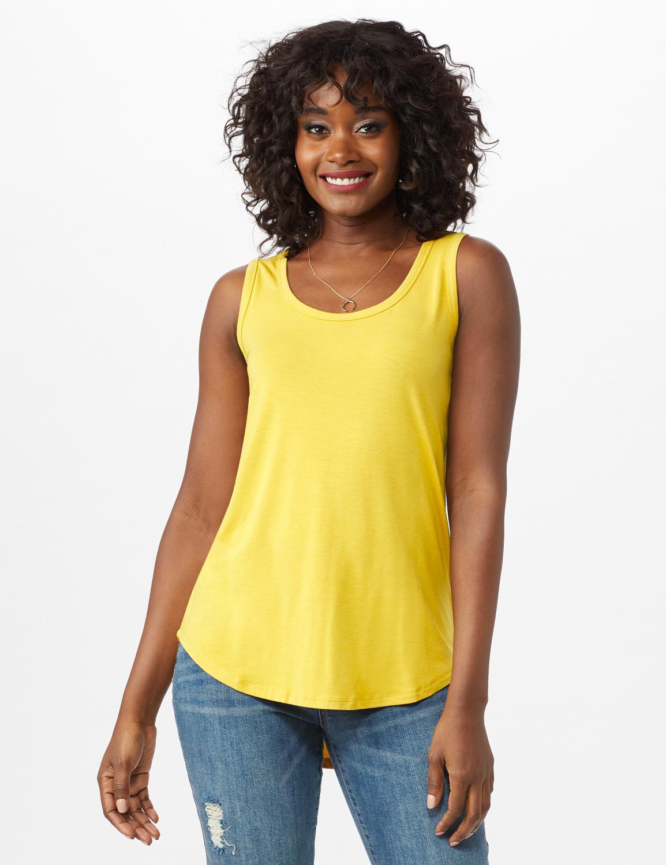 Hi Lo Hem Tank -Mustard - Front