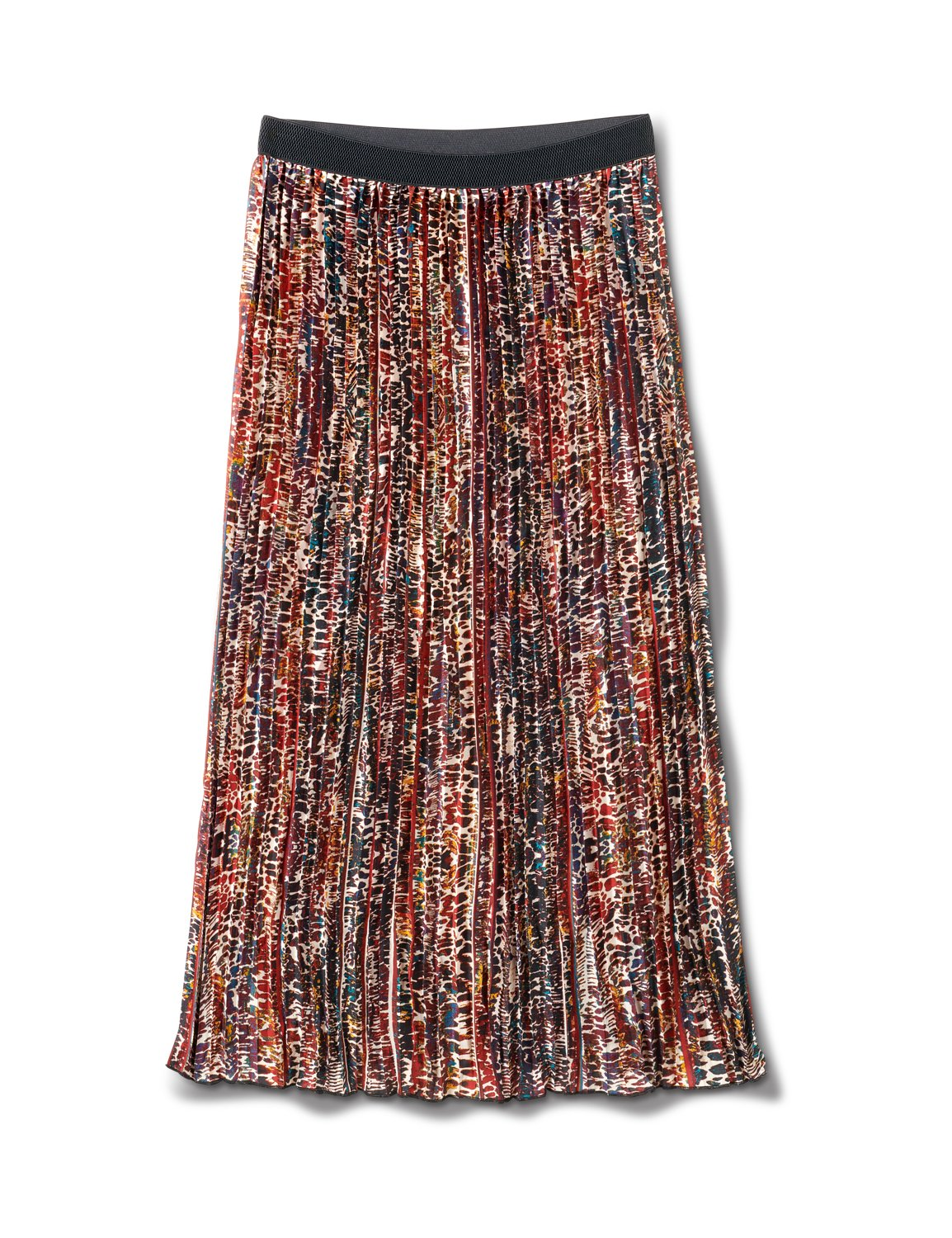 Printed Pleated Skirt With Contrast Elastic Waistband -Animal - Front