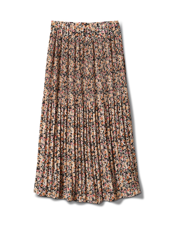 Elastic Waist Plisse Pleated Pull On Skirt -Cream/Black - Front