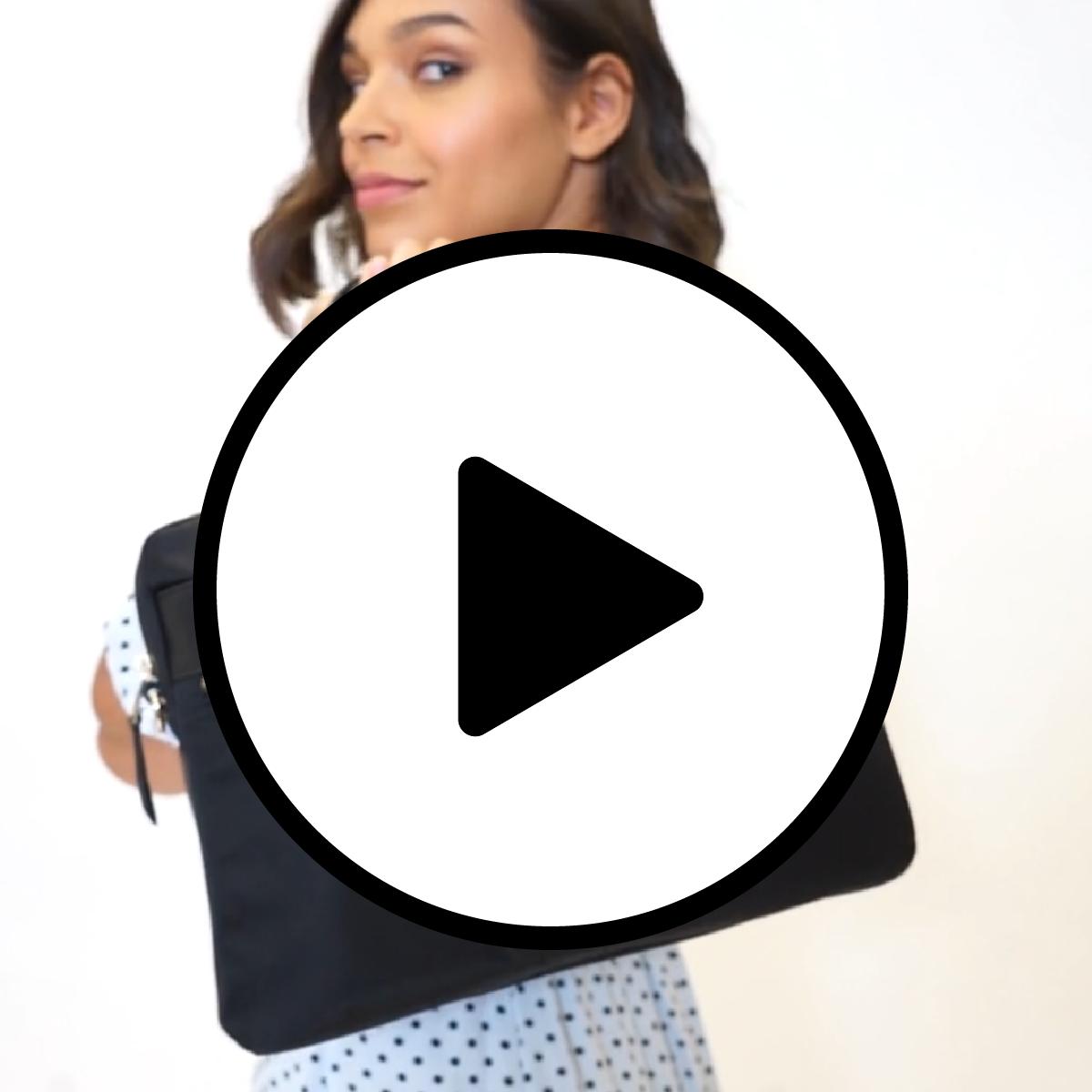 "Hanover Leather Laptop Briefcase - 14"" -  Black | KNOMO"