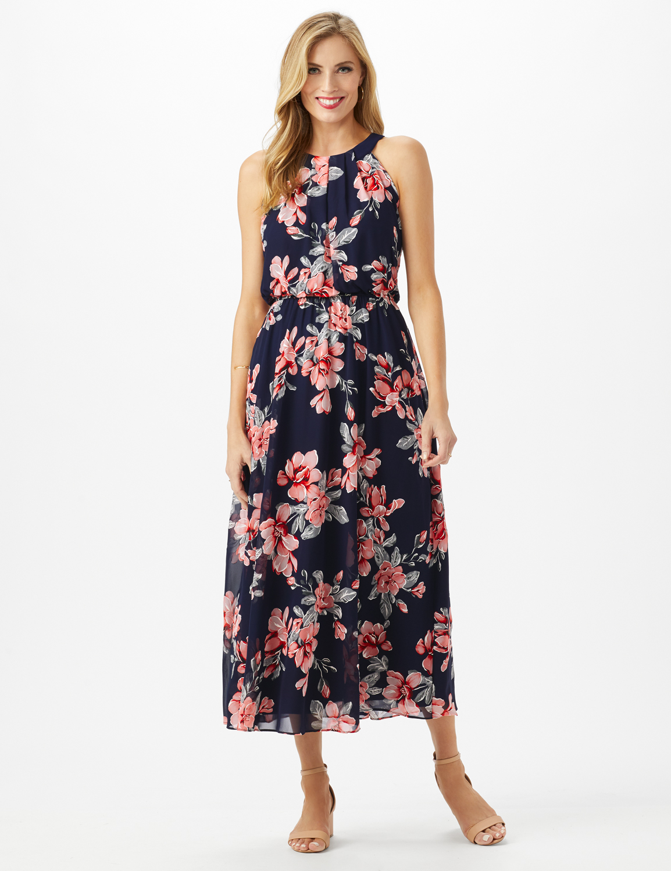 Petite Halter Neck Floral  Maxi Dress -Navy/Coral - Front