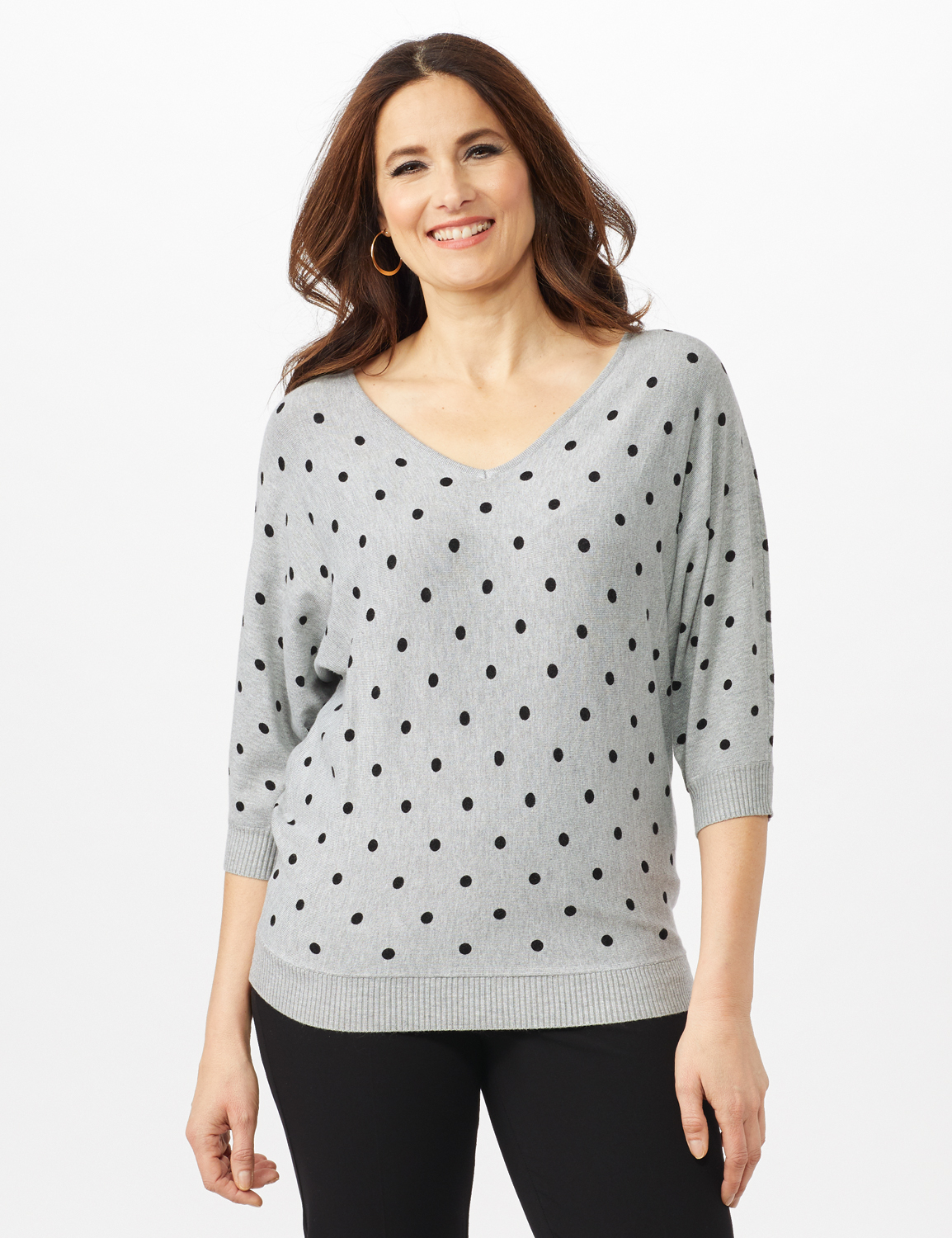 Dot Sweater -Mist Grey Heather/ Black - Front