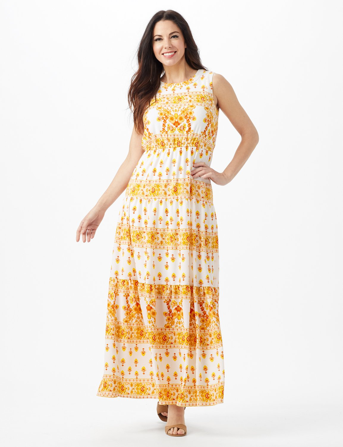 Mixed Pattern Maxi Peasant Dress -Ivory/Mustard - Front