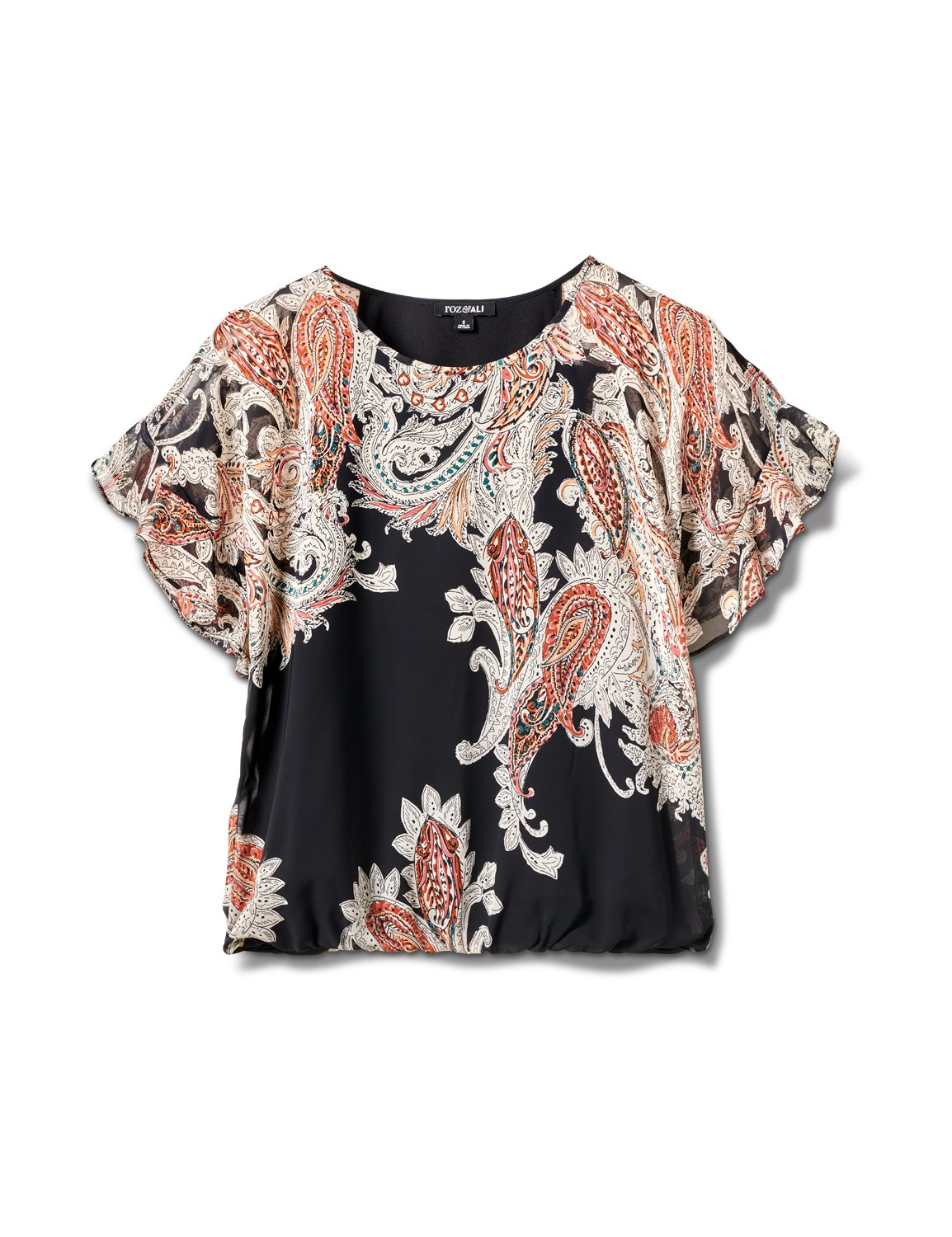 Roz & Ali Paisley Paisley Colder Shoulder Blouse - Misses -Black - Front