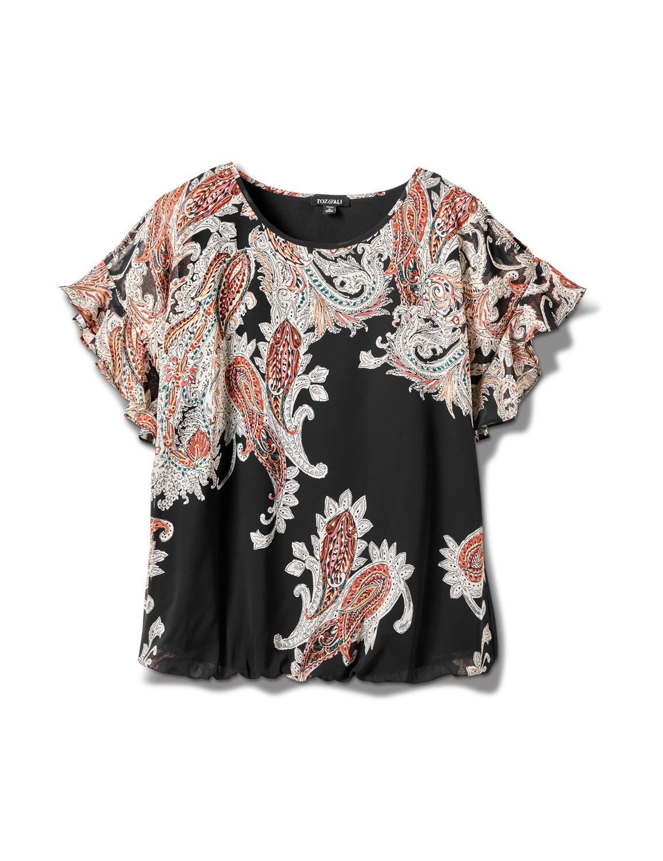 Pre-Order Roz & Ali Paisley Paisley Colder Shoulder Blouse - Plus -Black - Front