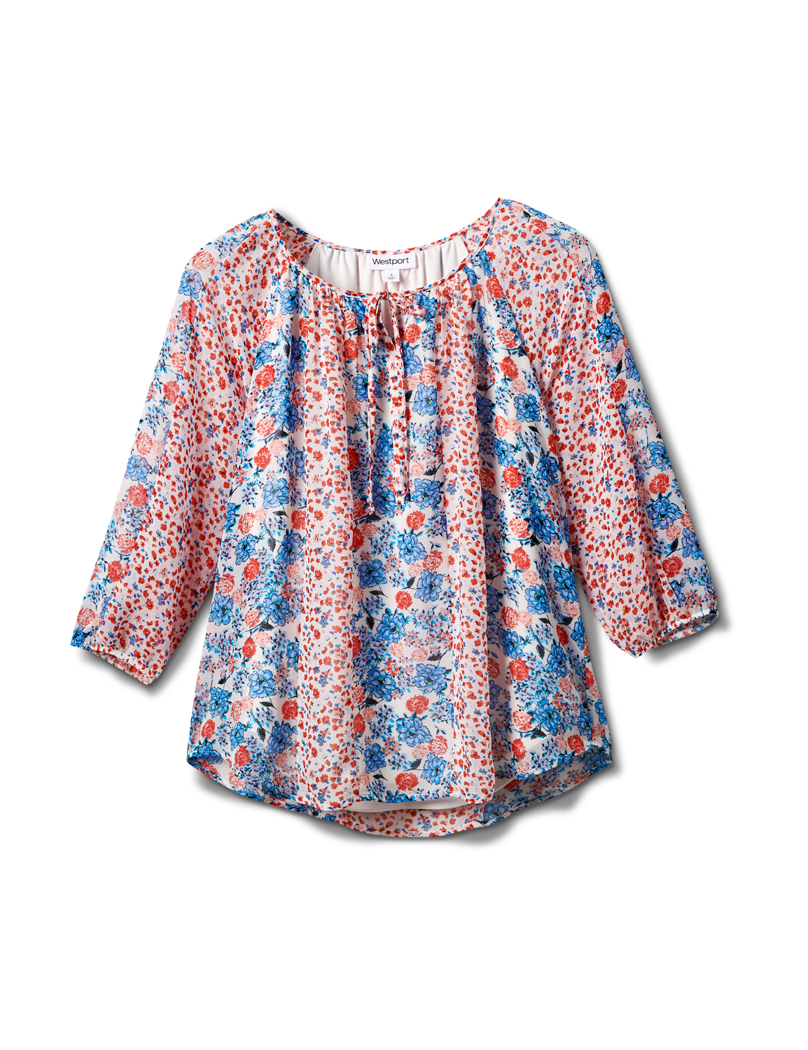 Westport Small Floral Twin Print Blouse -Red/Blue - Front