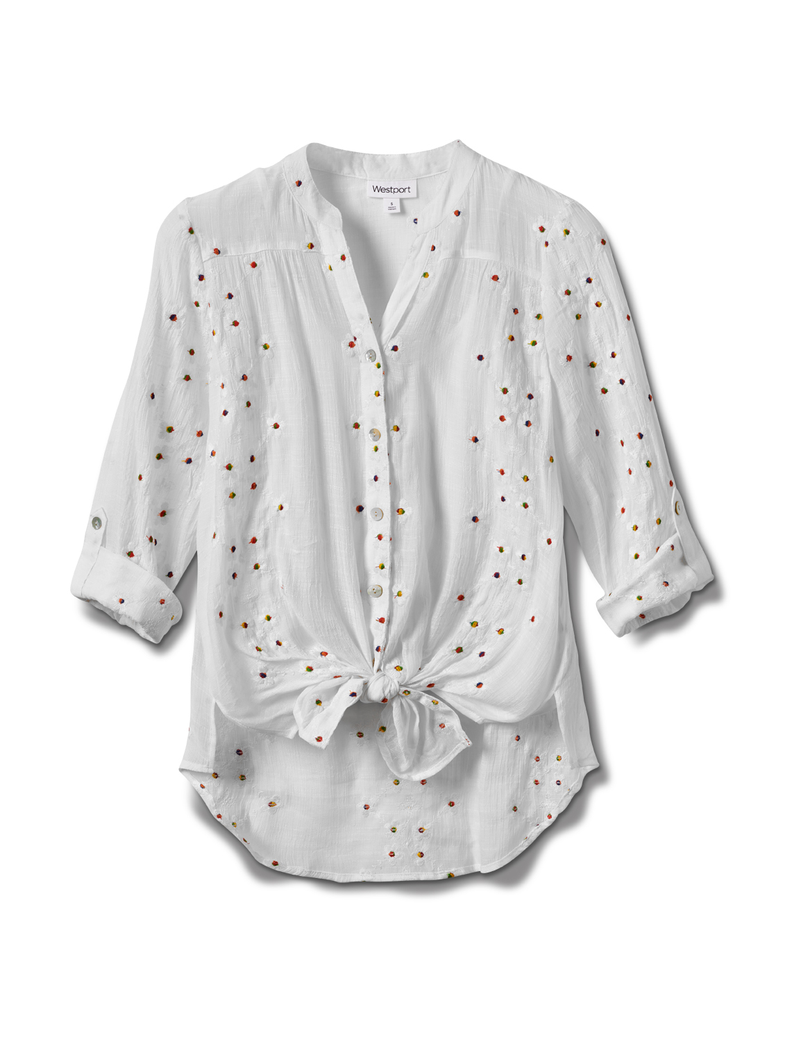 Westport Embroidered Button Front Shirt -White - Front