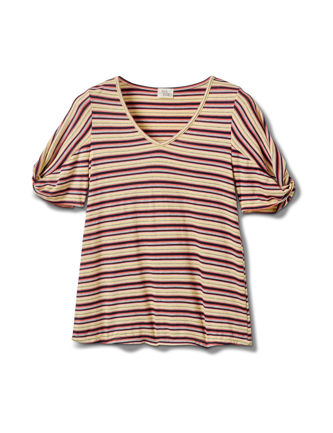 Rib Stripe Thermal Tee - Misses -Banana - Front