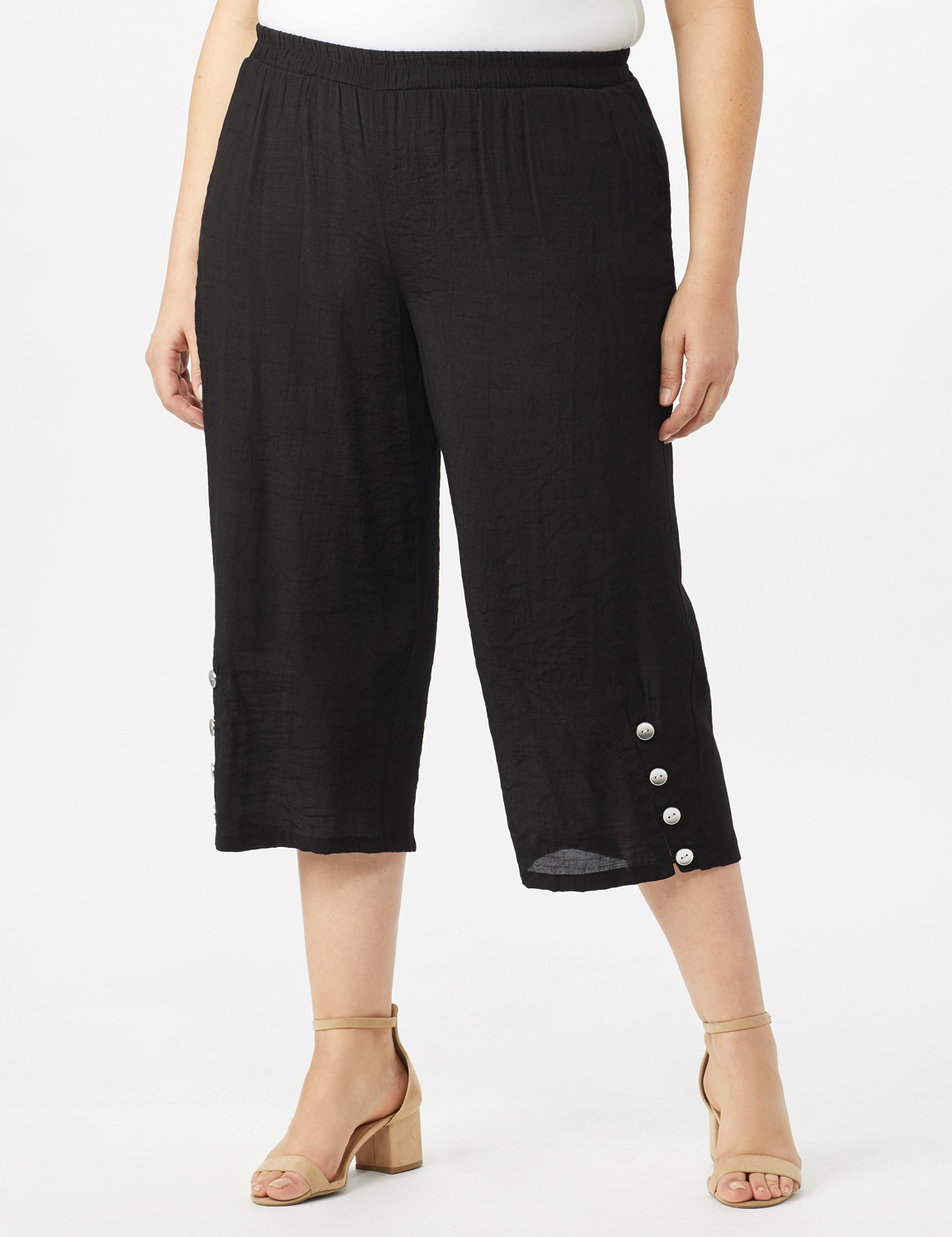 Pull on Wide Leg Crop Pants with Button Hem Detail -Black - Front