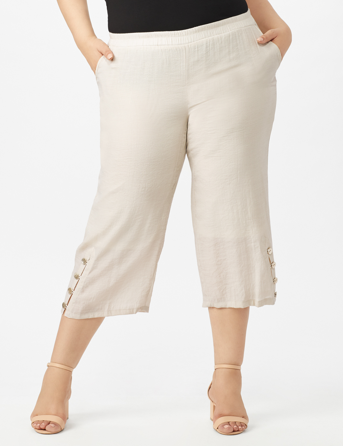 Pull on Wide Leg Crop Pants with Button Hem Detail -Lt Stone - Front