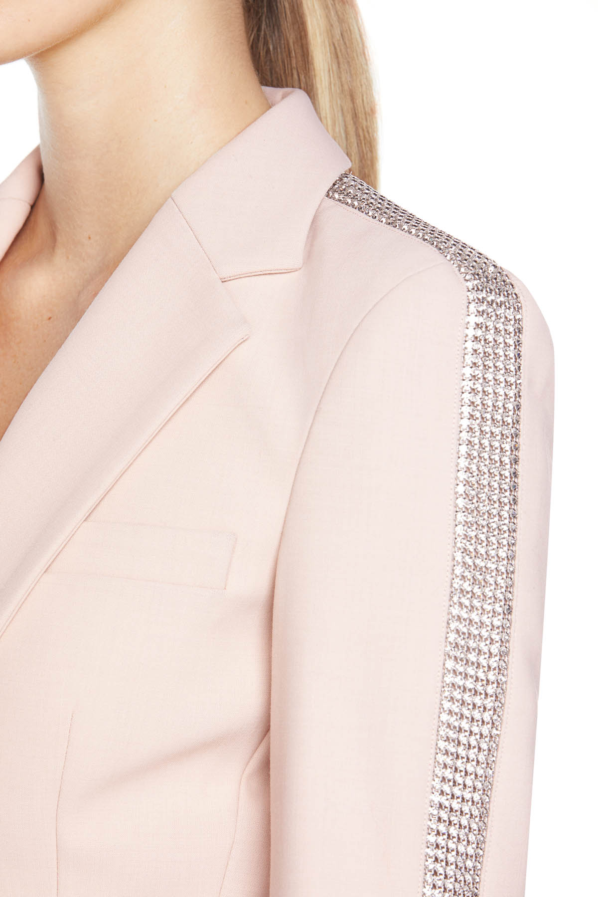 Tailored long sleeve blazer with crystal stripe embellishment. Available in Blush.