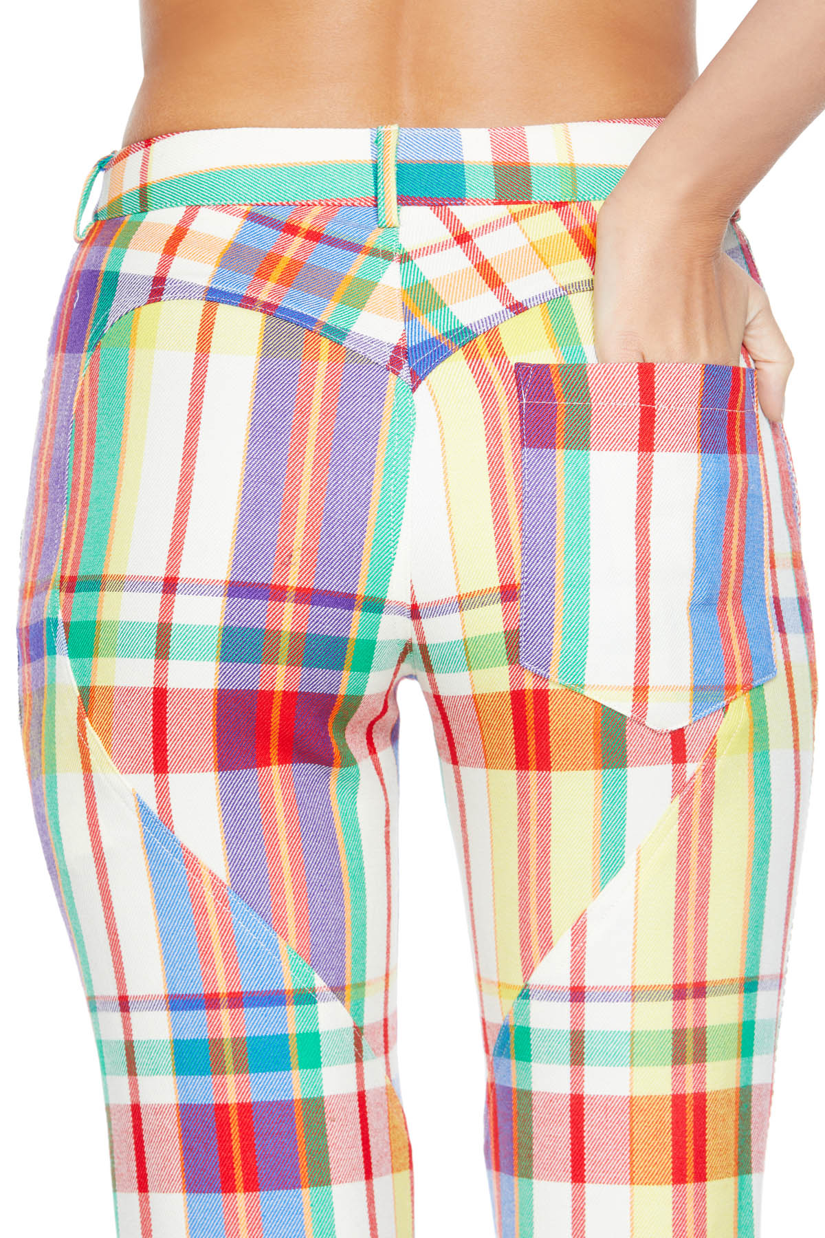 Straight leg pant features heart-shaped seaming on back. Detailed with AREA logo hardware button closure. Available in Rainbow.