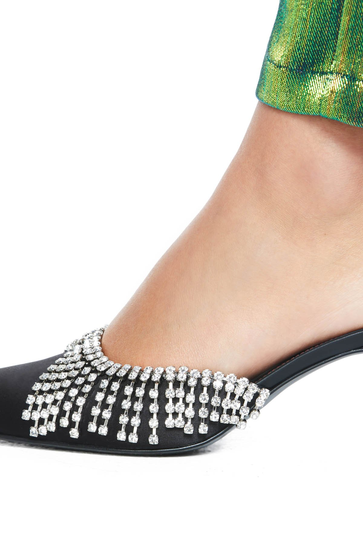 Pointed toe kitten heel with crystal chandelier detailing. 65MM heel. Available in Black.