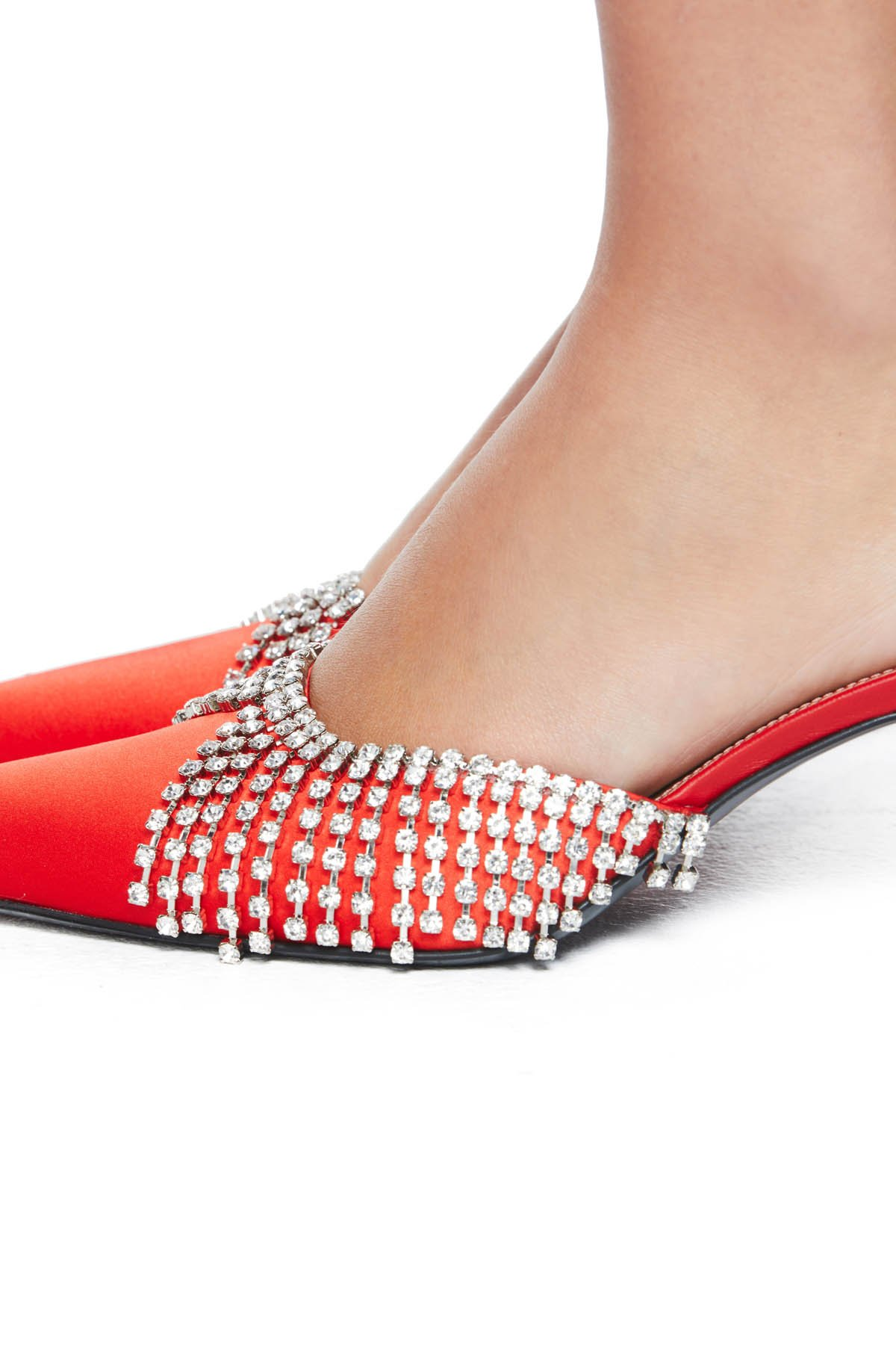 Pointed toe kitten heel with crystal chandelier detailing. 65MM heel. Available in Red.