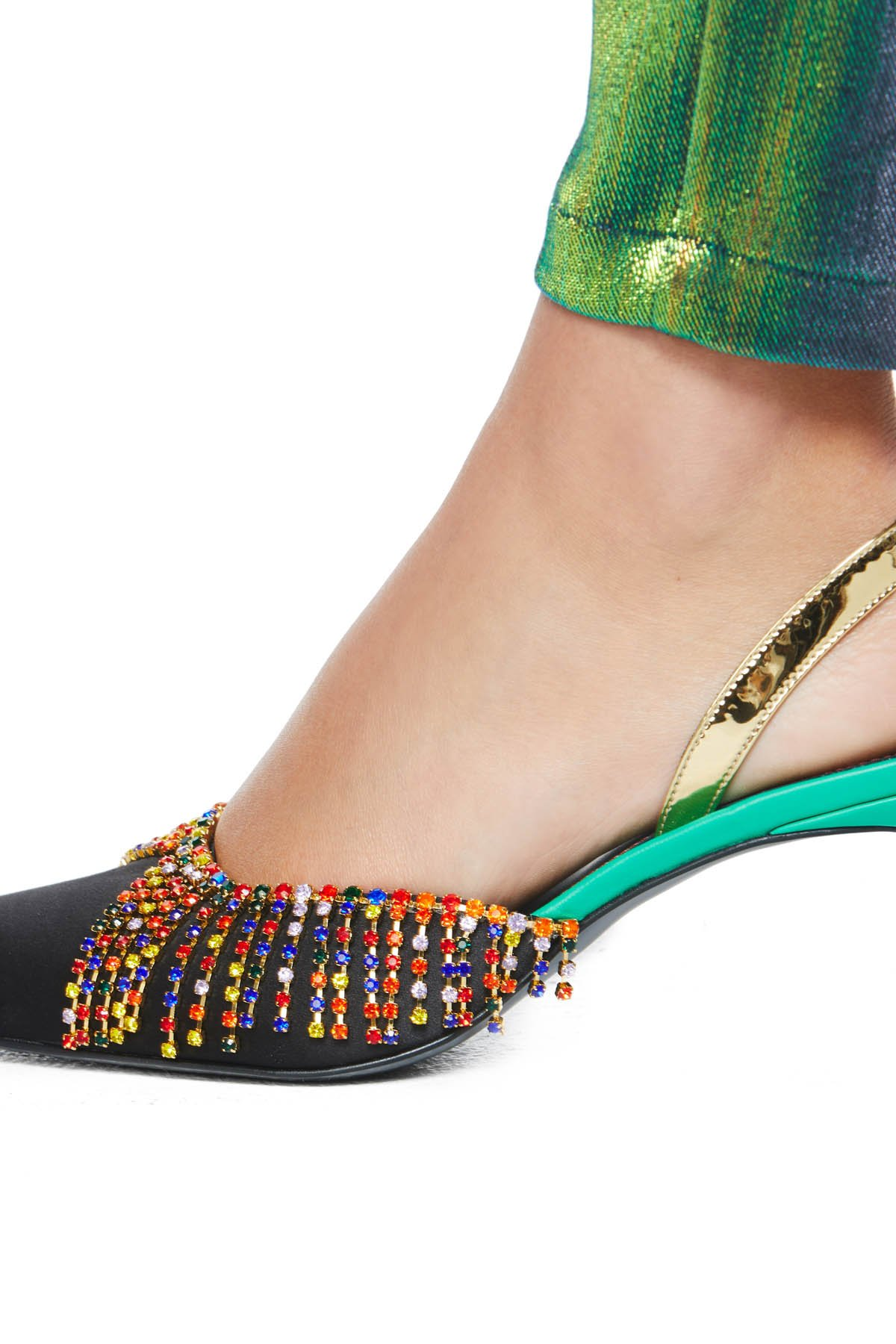 Pointed toe kitten heel with crystal chandelier detailing. 65MM heel. Available in Black/Multi.
