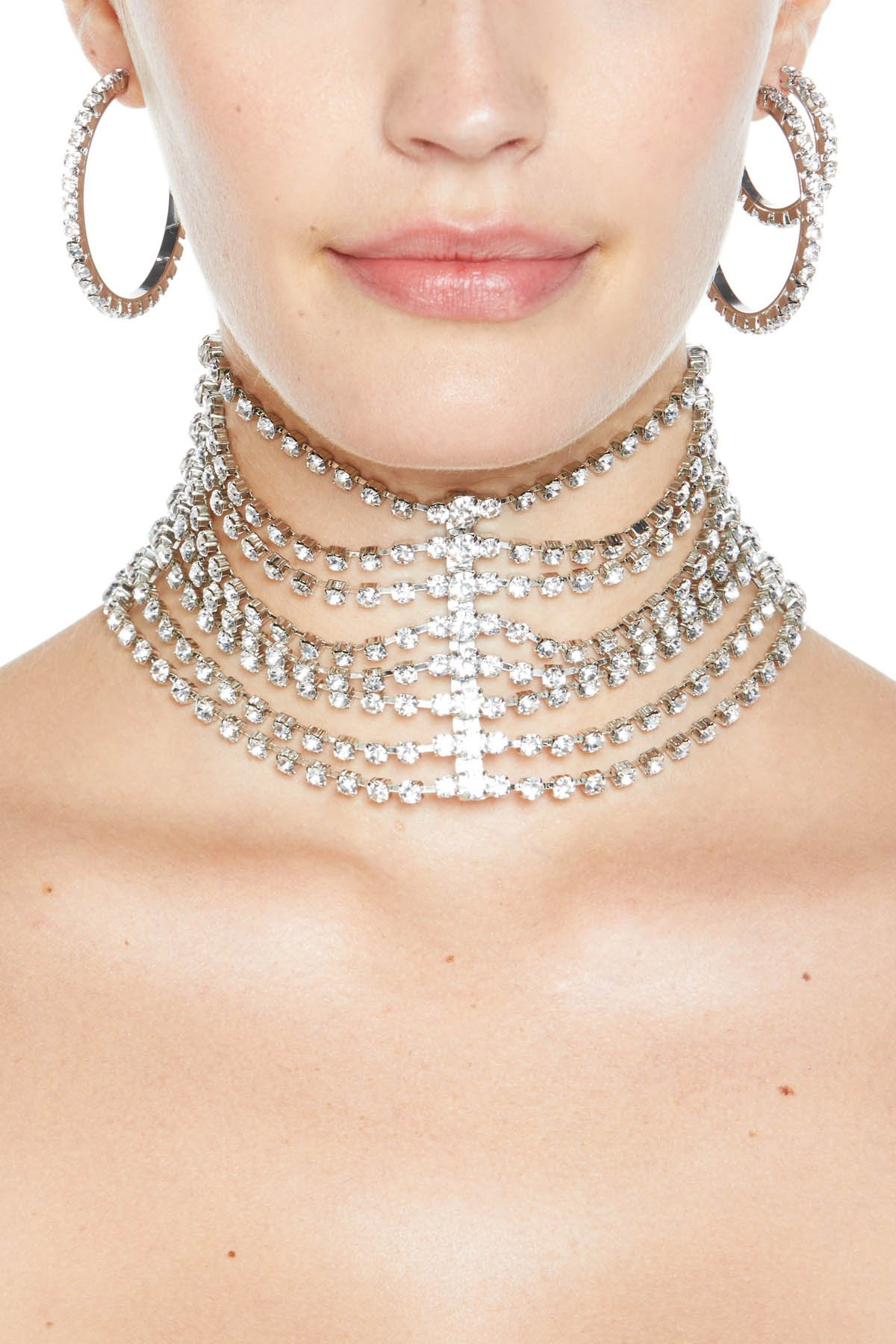 Tiered crystal draped choker. Imported. Available in Clear/Silver.