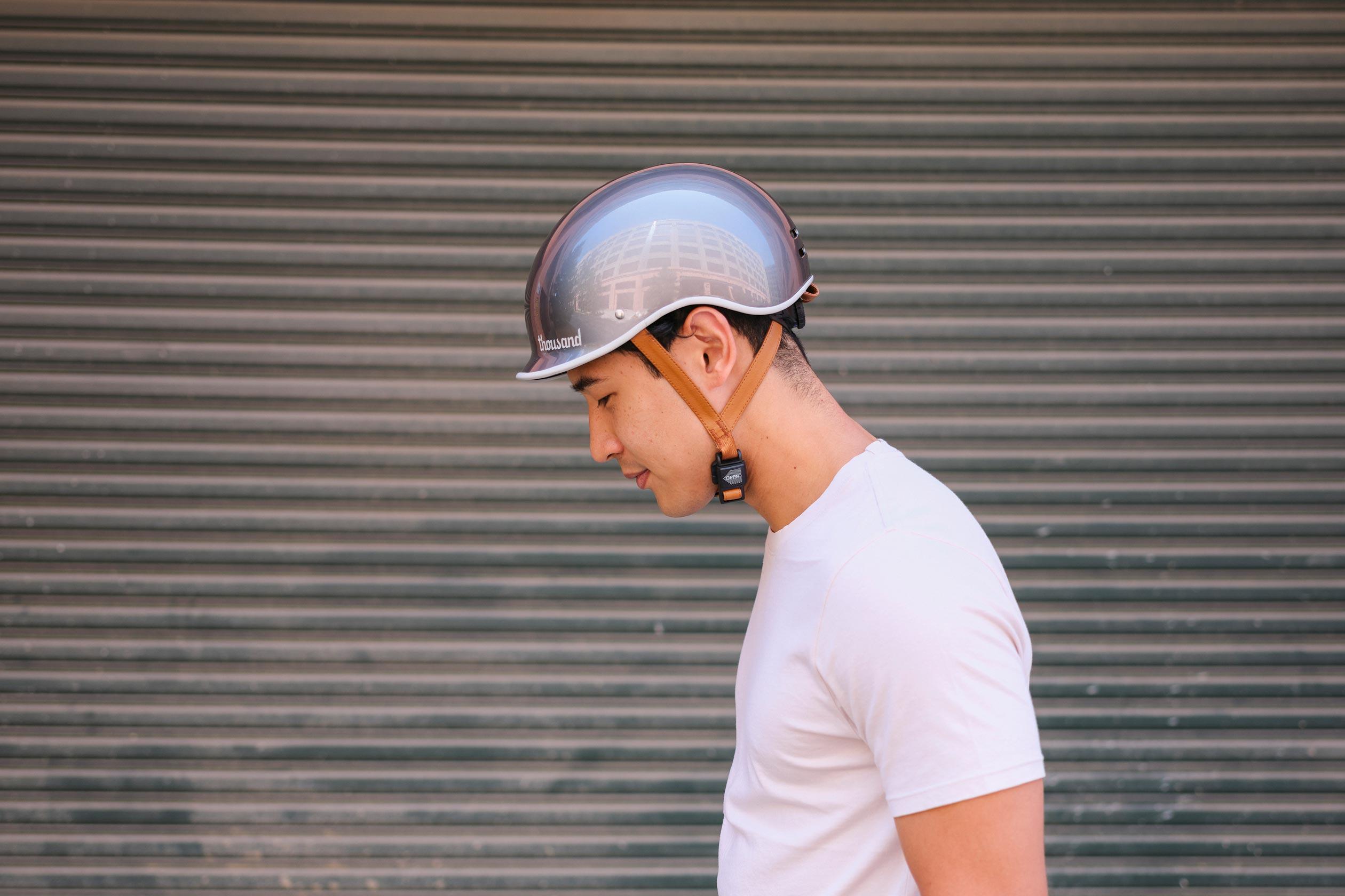 Heritage Bike Helmet, Polished Titanium