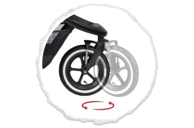roue avant pivotante à 360° ou bloquée vers l'arrière
