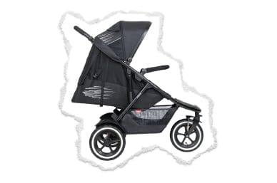 Flach liegender Stofftragesitz für ein winziges Neugeborenes bis hin zum aufrechten Sitz für ein großes Kleinkind!